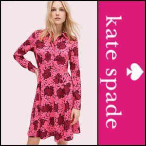 ♠️Kate Spade Hot Pink Bubble Dot Smocked Dress NWT